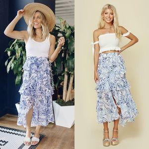 MISA LOS ANGELES Joseva Maxi Skirt Floral Ruffle